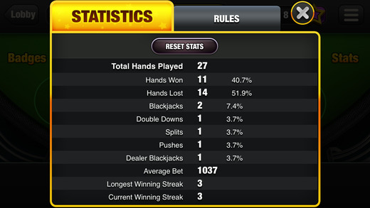 blackjack stats